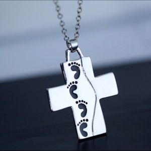 God Said On Back Footprints Cross Pendant